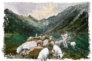 Franck BOUCHER - Les moutons de l'Apocalypse - 90x60 cm - Tirage sur papier Torchon