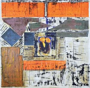 Laurence Gautier - Passage - 2005 - 80 X 80 cm - encre, huile et collages sur toile