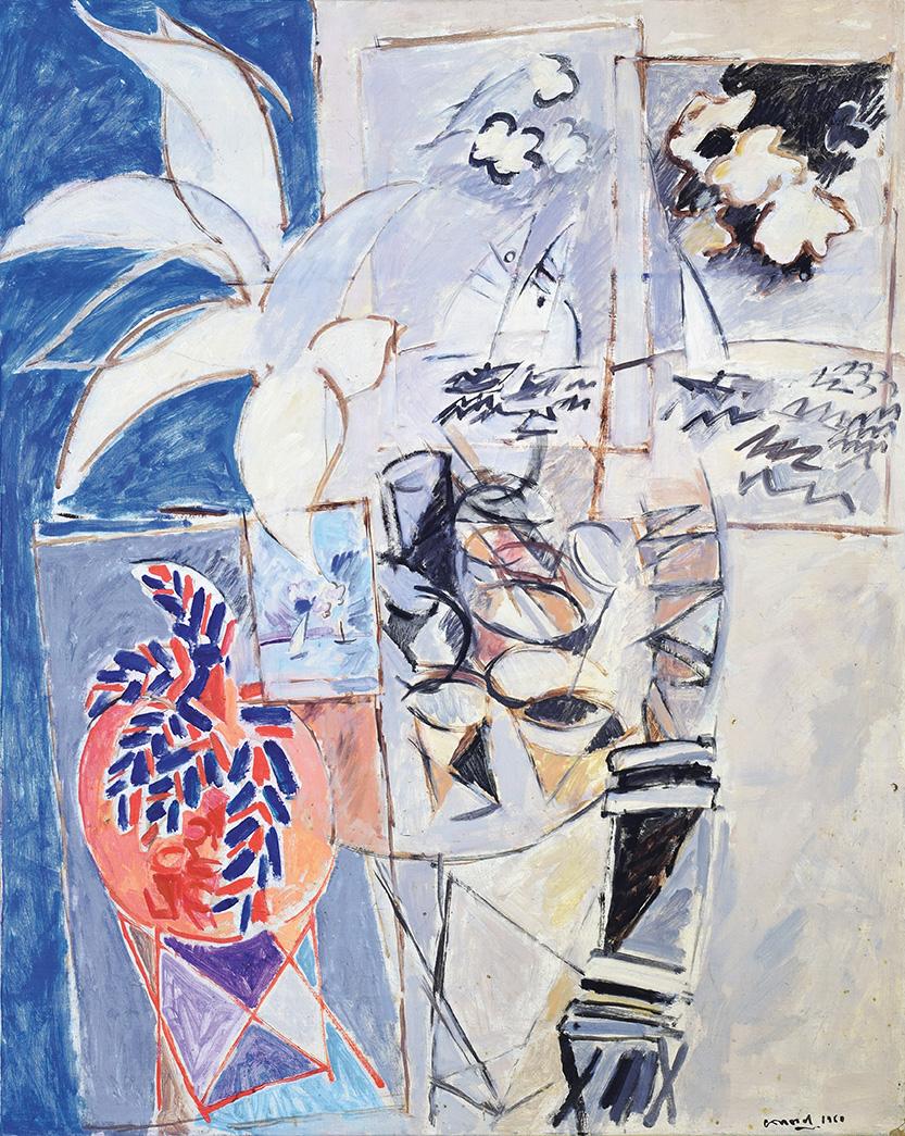 Philippe Conord - L'atelier - huile sur toile, 100 x 81 cm, 1960