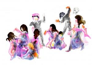 Florence Reymond - N°8, Série - Un peu de tenue, Madame - techniques mixtes sur papier -  49 X 70 cm, 2013 © Galerie Odile Ouizeman