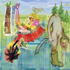 Florence Reymond - Les gommettes de saint-Denis - huile sur toile - 100 X 100 cm, 2007 © Galerie Odile Ouizeman