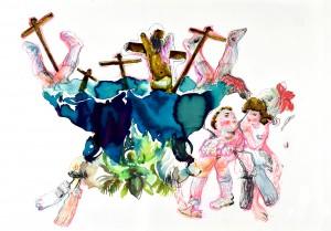 Florence Reymond - N°5, Série - Un peu de tenue, Madame - techniques mixtes sur papier - 49 X 70 cm, 2013 © Galerie Odile Ouizeman