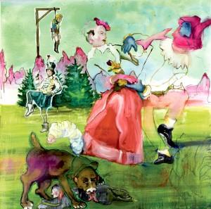Florence Reymond - Le Pendu, série Révolution française - huile sur toile - 100 X 100 cm, 2008 © Galerie Odile Ouizeman
