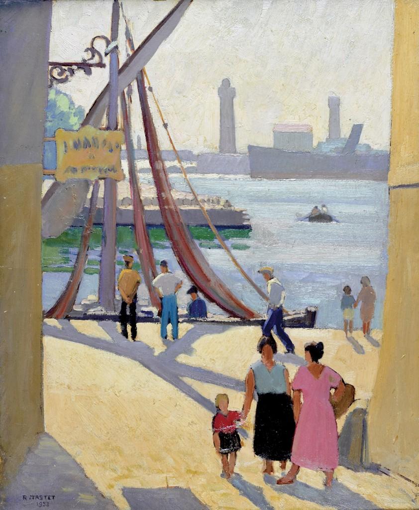 René TASTET - Le Port de Sète - 1932 - 64,5 X 53,5 cm