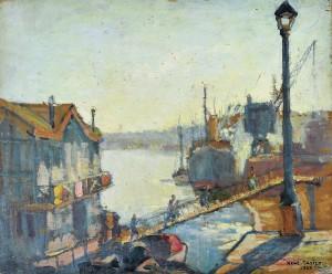 """Rene TASTET -  L'embarcadère des gondoles """"Les Hirondelles"""" - 1926 - 46 X 54,5 cm"""