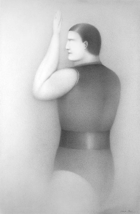 Georges Bru - L'athlète en maillot - crayon - 75 X 50 cm