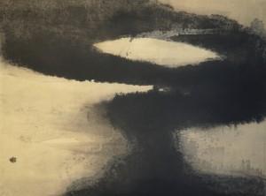 """Sho Asakawa - """"Contemplation"""" - encre de chine sur papier japonais - 97 X 130 cm - 2010"""