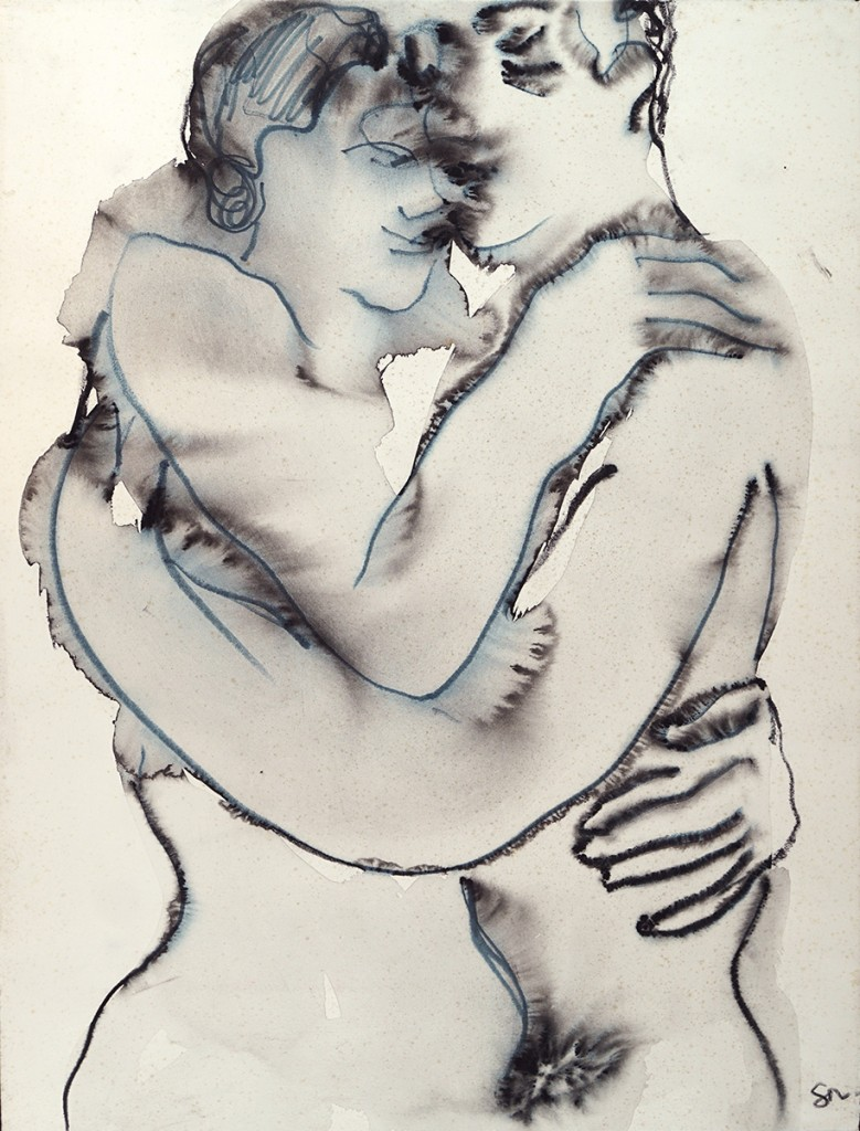 Étreinte 2 - lavis à l'encre sur papier - 65 X 50 cm - 2006 - Johan Demessine galerie GAG