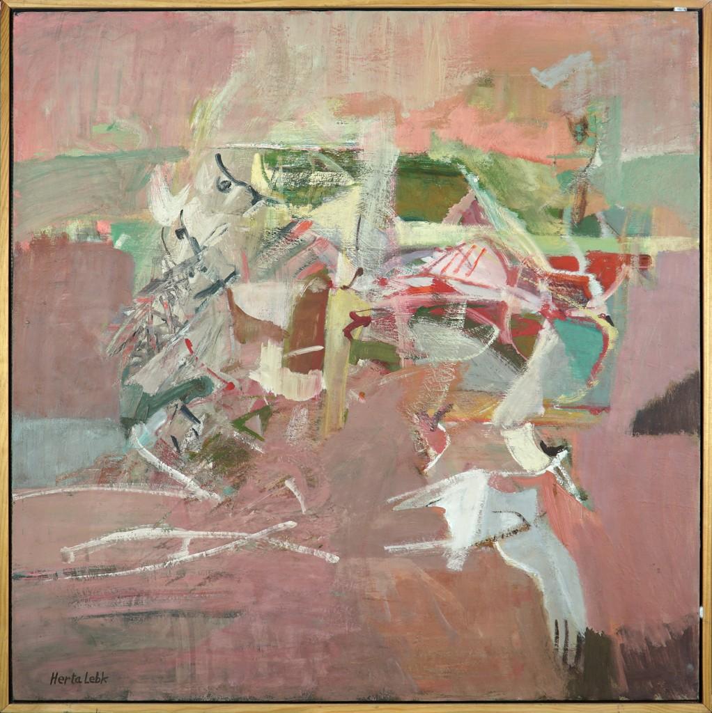 """Herta LEBK - """"Aigrettes au ciel rose"""" - Huile sur toile - 80x80 cm"""