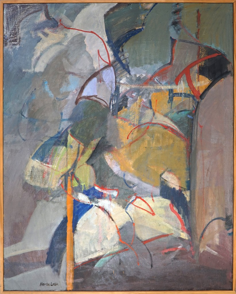 "Herta LEBK - ""Buisson d'or"" - Huile sur toile - 91x73 cm -1993"