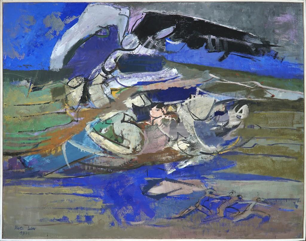 """Herta LEBK - """"Chantier ostreicole découvert"""" - Huile sur toile - 114x146 cm - 1978"""