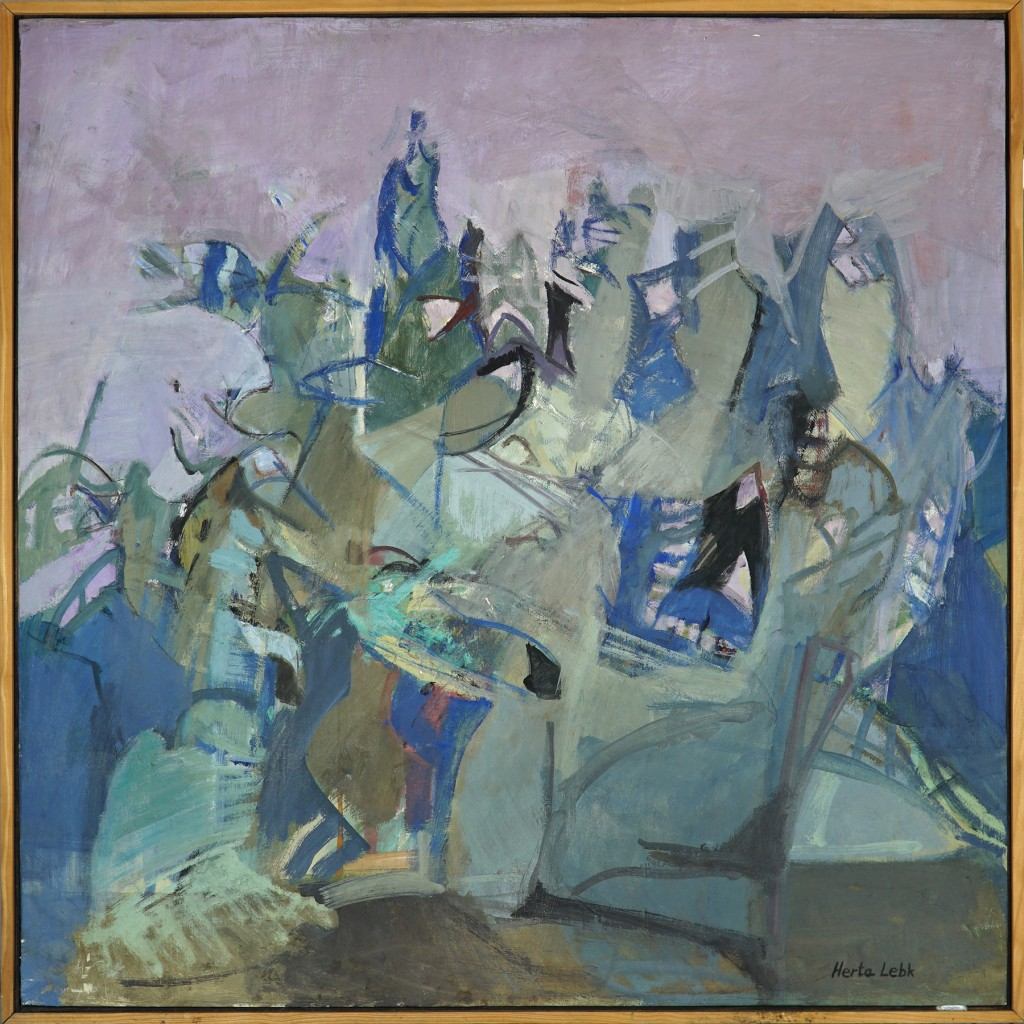 """Herta LEBK - """"Grands arbres au ciel mauve"""" - Huile sur toile - 80x80 cm"""
