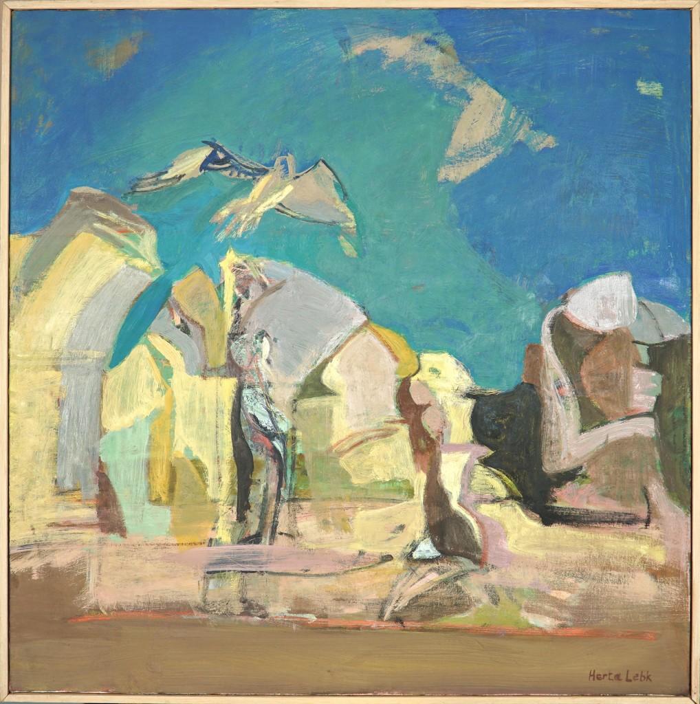 """Herta LEBK - """"Grands rochers au ciel vert II"""" - Huile sur toile - 80x80 cm - 2005"""