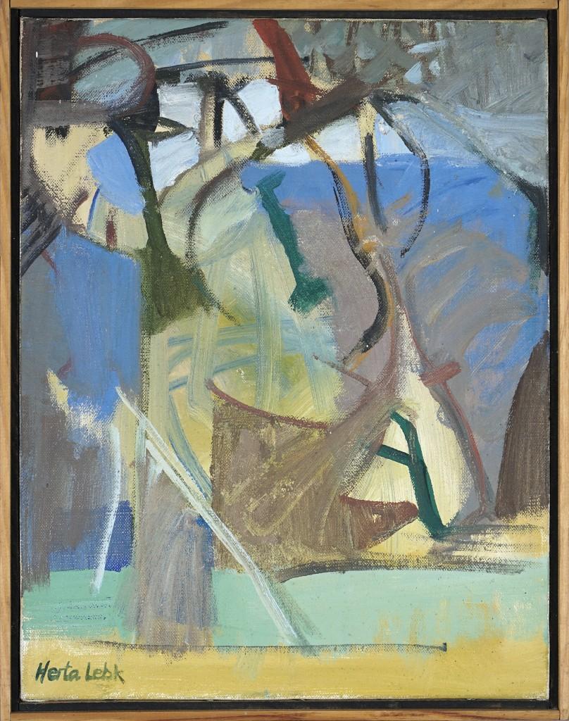 """Herta LEBK - """"L'arbre nu"""" - Huile sur toile - 35x27 cm - 1993"""