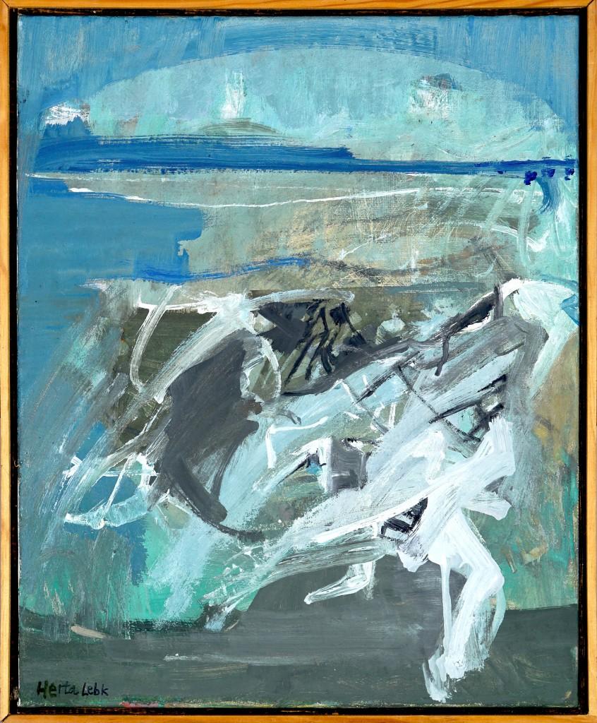 """Herta LEBK - """"Marée bleue"""" - Huile sur toile - 41x33 cm - 1996"""