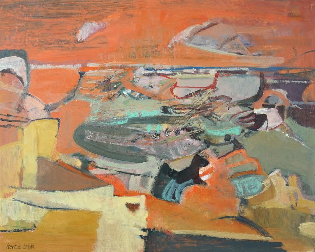 """Herta LEBK - """"Arizona au ciel flamboyant"""" - Gouache sur papier - 40x49 cm - 2000"""
