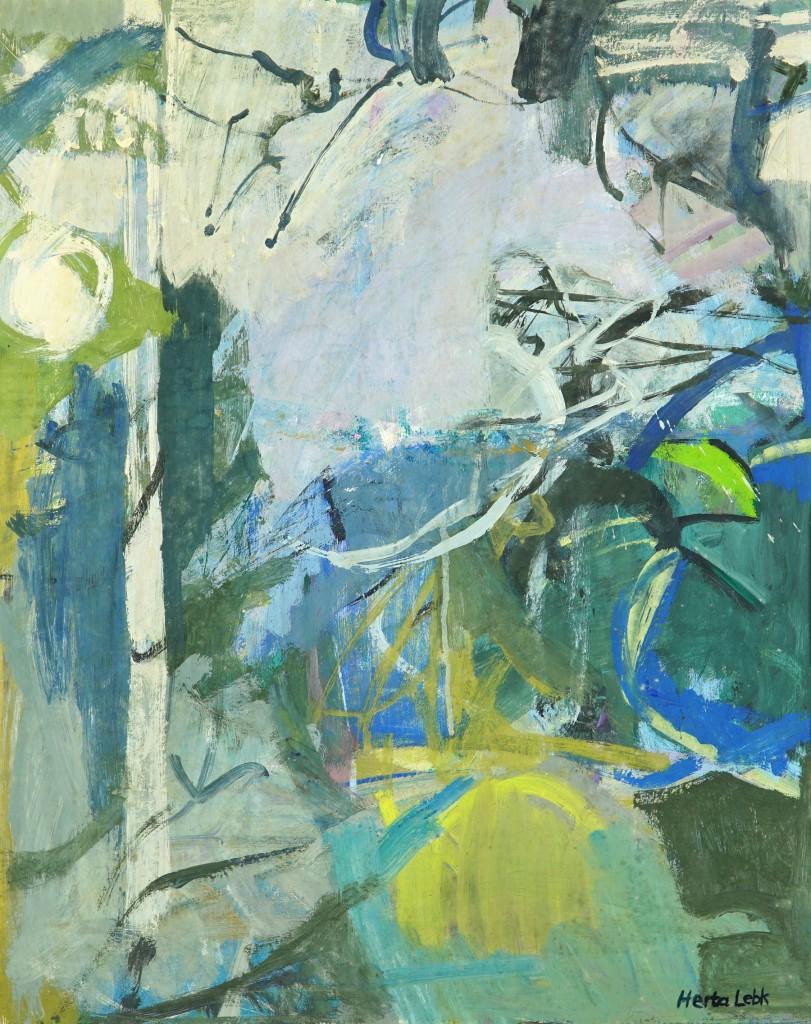 """Herta LEBK - """"Brumes"""" - Gouache sur papier - 54x42 cm -1992"""