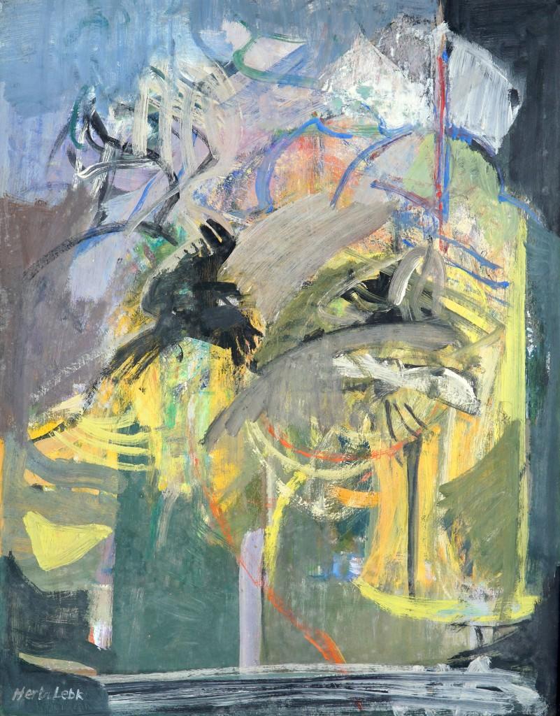 """Herta LEBK - """"Le bal des corbeaux"""" - Gouache sur papier - 61x48 cm"""