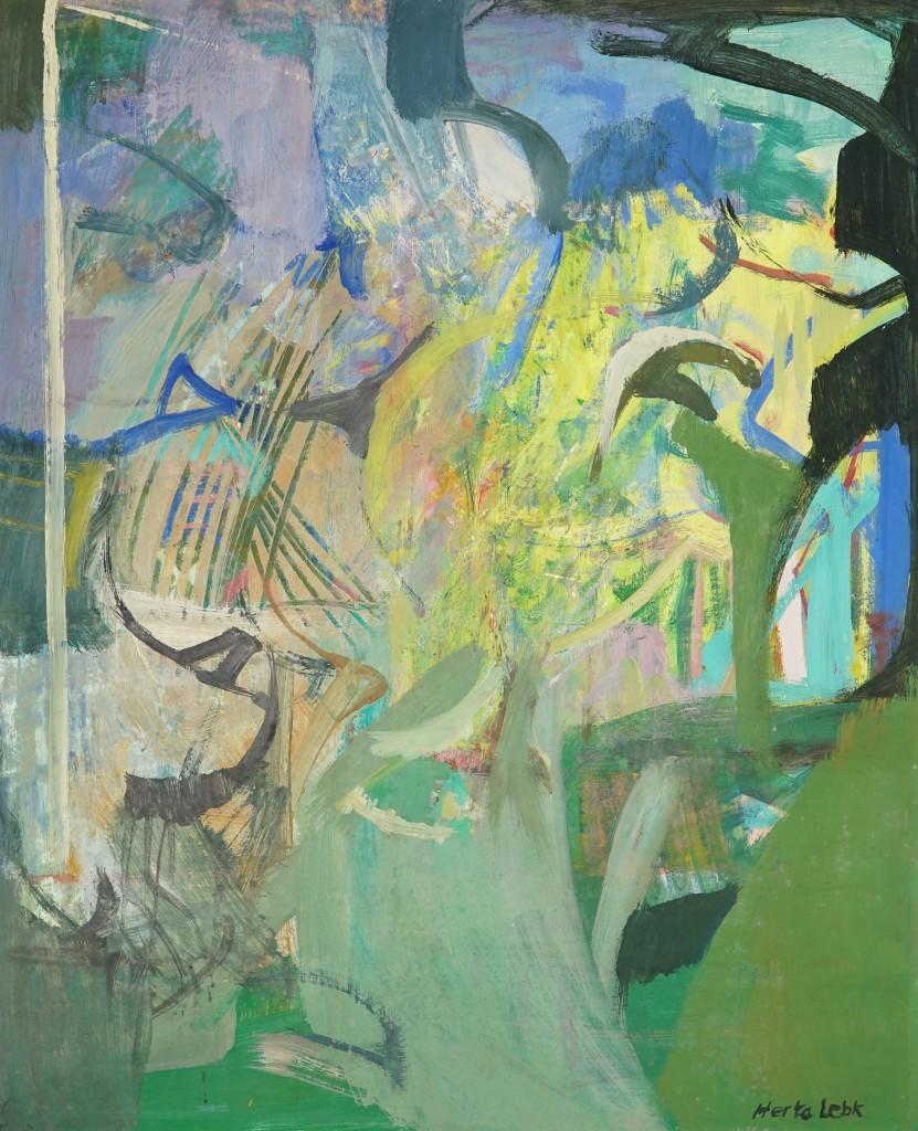 """Herta LEBK - """"Printemps"""" - Gouache sur papier - 61x50 cm"""
