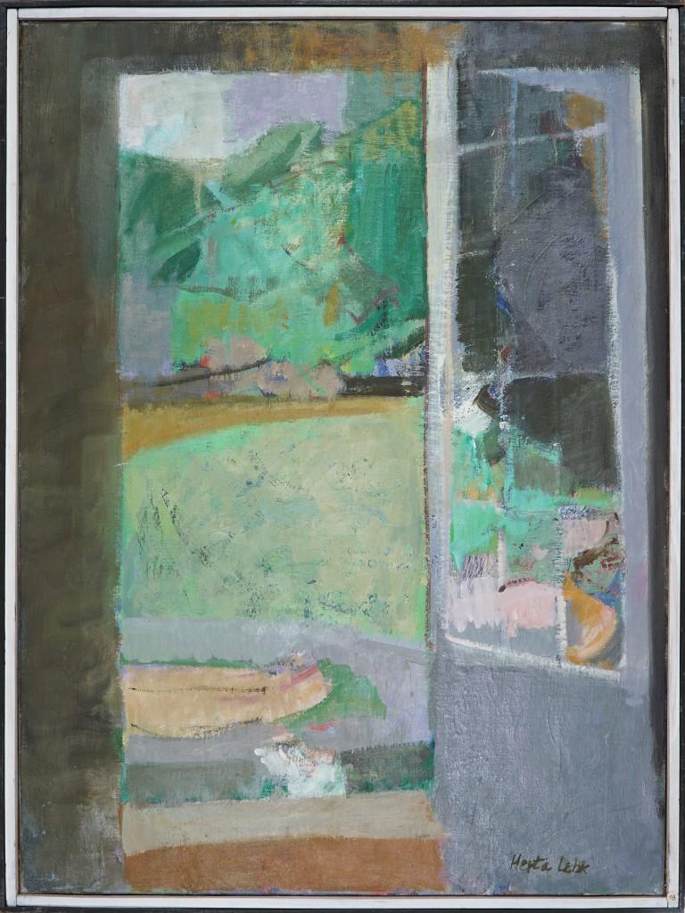 "Herta LEBK - ""Porte ouverte"" - Huile sur toile - 100x81 cm - 1984"