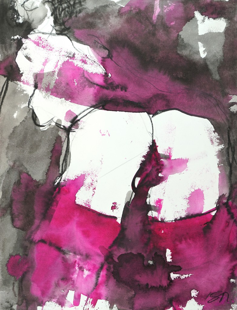 Pourpre 1 - encre sur papier - 65 X 50 cm - 2008