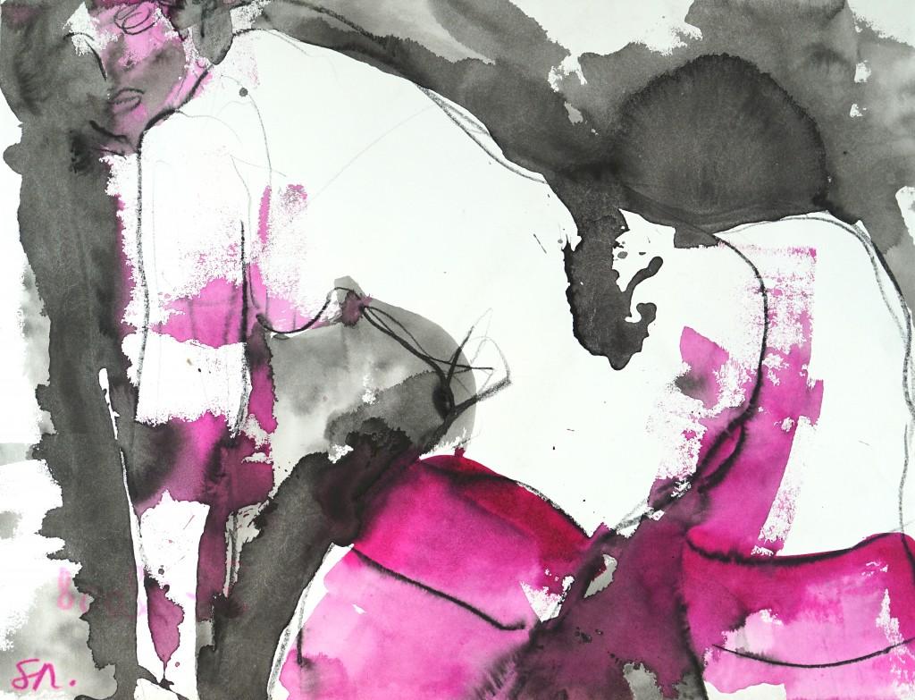 Pourpre 2 - encre sur papier - 50 X 65 cm - 2008