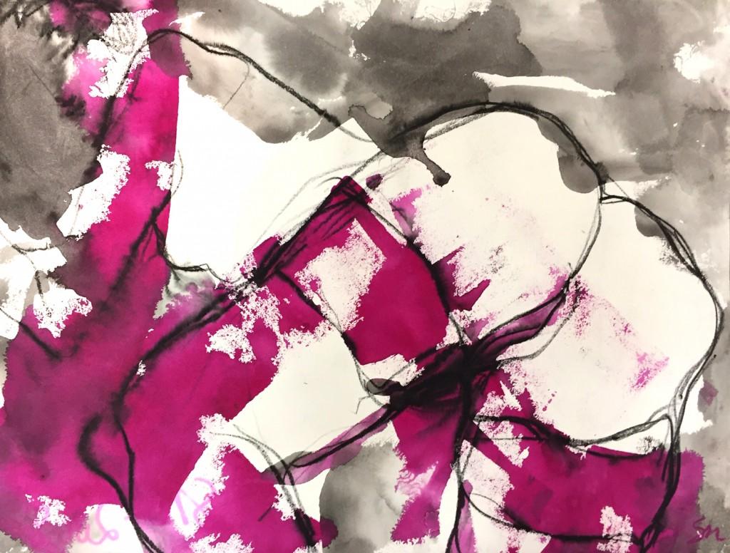 Pourpre 6 - encre sur papier - 50 X 65 cm - 2008
