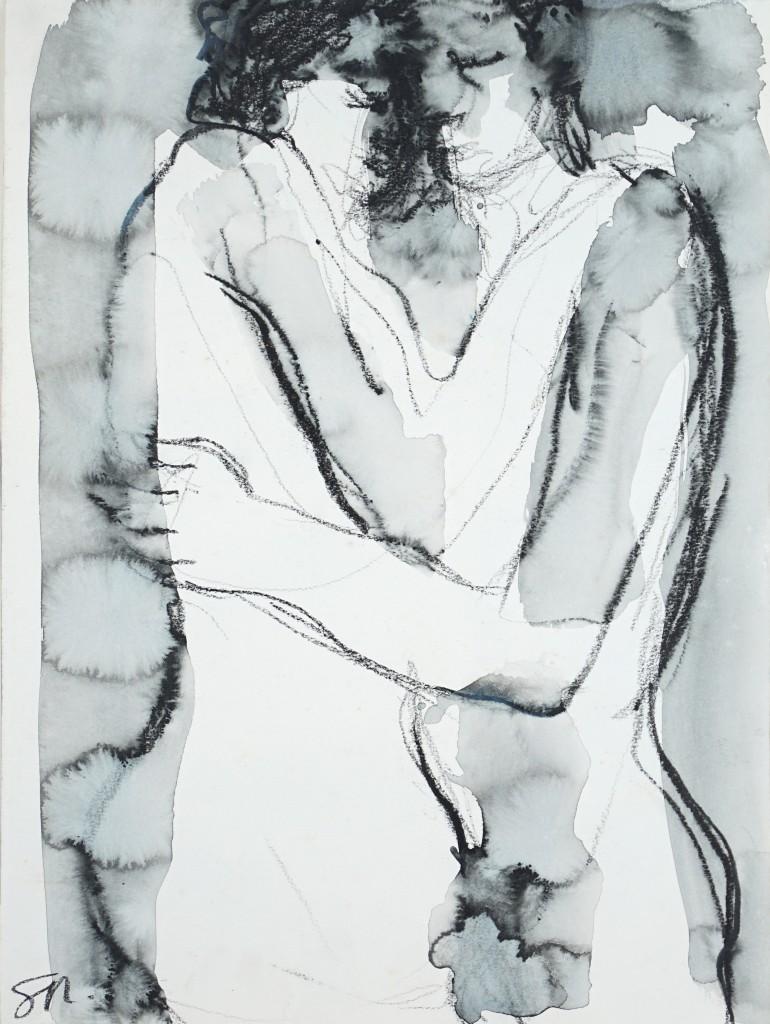 Sophie Sainrapt – Étreinte 6 - 30 X 40 cm – lavis à l'encre sur papier – 2006