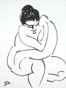 Sophie Sainrapt – Nue – 40 X 30 cm – feutre sur papier – 1998