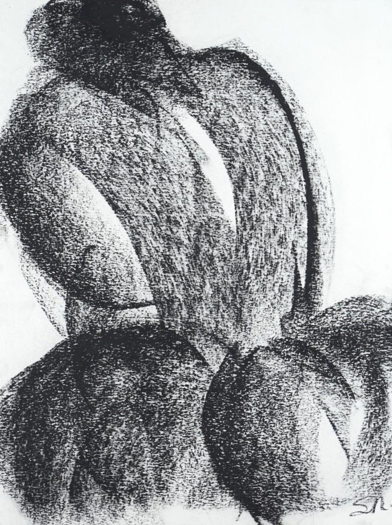 Sophie Sainrapt – Venus préhistorica 1 – 40 X 30 cm – fusain sur papier – 2020
