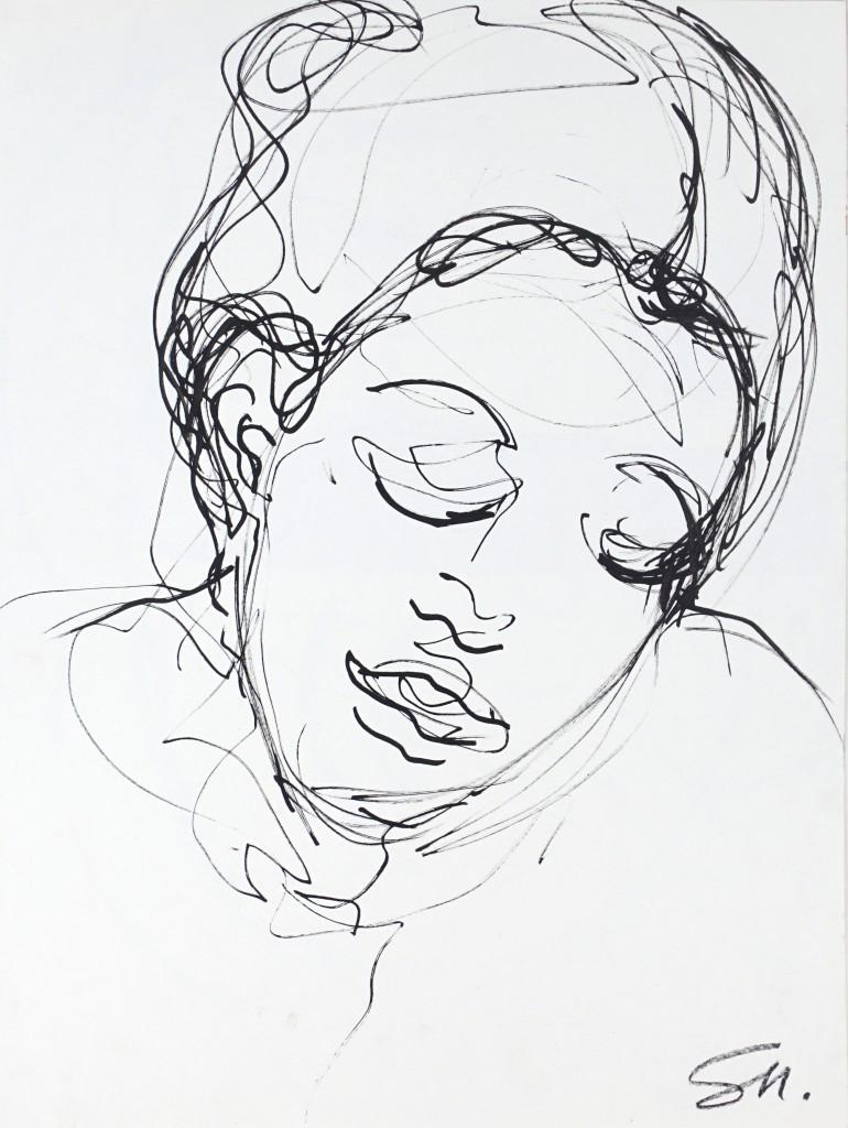 Visage 1 - encre sur papier - 40 X 30 cm - 1998