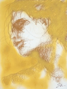 Visage 2 - Encre et pastel sur papier - 40 X 30 cm - 2006