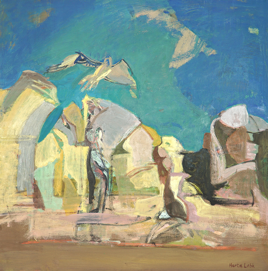 Herta LEBK - Grands rochers au ciel vert II- Huile sur toile - 80x80-2005