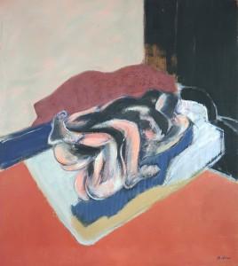 """Claude BELLAN - """"Les amants au tapis rouge"""" - Huile sur toile - 90 x 80 cm - 2000"""
