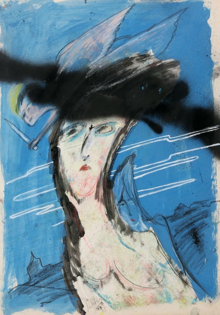 """Zwy Milshtein - """"L'ange vengeur"""" - Acrylique et pastel sur papier 65 x 50 - 1987 Signé et daté en bas au centre"""