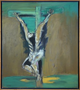 "Claude BELLAN - ""Crucifixion verte"" - 113 x 100 cm - 1999 - huile sur toile - 2800€"