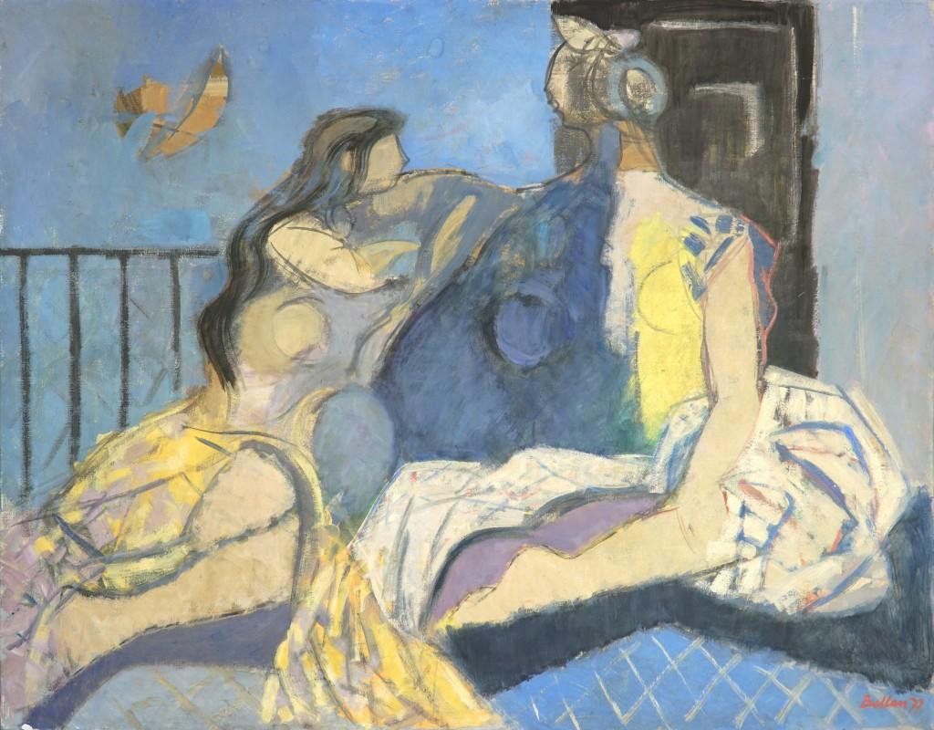 """Claude BELLAN - """"La conversation II"""" - 114 x 146 cm - 1977 - huile sur toile - 3900€"""