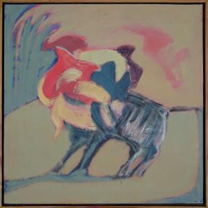 """Claude BELLAN - """"Petite corrida"""" - 40 x 40 cm - 2001 - huile sur toile - 1000€"""