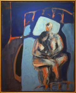 """Claude BELLAN - """"Le lit bleu"""" - 100 X 81 cm - Résine acrylique et pigments - 1998 - 2500€"""