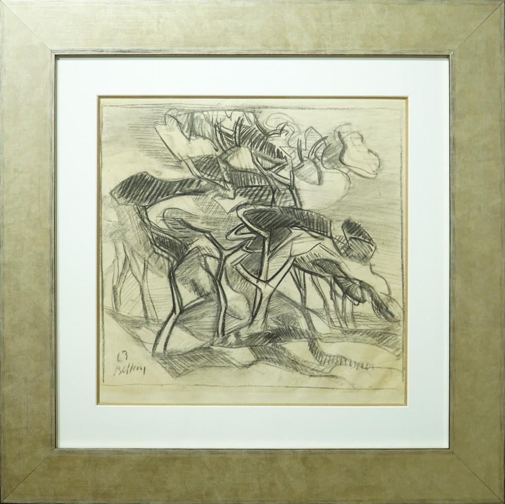 """Claude BELLAN - """"Les Pins"""" - 36 X 36 cm - mine de plomb sur papier - 1963 - 800€"""