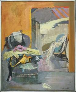 """Herta LEBK - """"Fauteuil trompeur"""" - 100 x 81 cm - 1981 - huile sur toile - 2500€"""