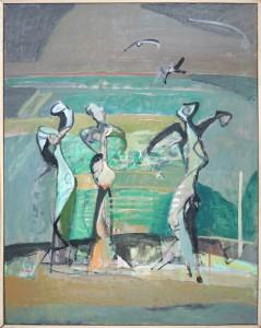 """Herta LEBK - """"La danse des vignes"""" - 92 x 73 cm - 2004 - huile sur toile - 1800€"""