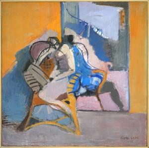 """Herta LEBK - """"Le miroir"""" - 100 x 100 cm - 1976 - huile sur toile - 2800€"""