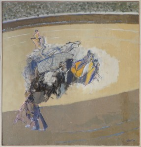 Claude BELLAN – Le Cheval à terre – huile sur toile – 110 x 100 cm – 1983