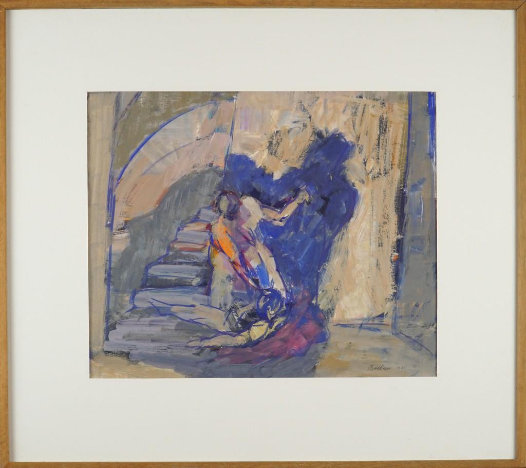 Claude BELLAN  – Le Meutre – gouache sur papier – 31 x 37 cm – 1983 FORMAT CADRE 51 X 57
