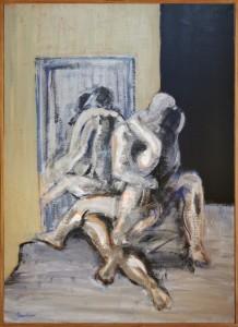 Claude BELLAN – Le baiser au miroir III - huile sur toile – 100 x 73 cm – 1987