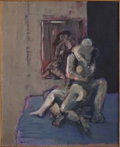 Claude BELLAN – Le miroir aux amants - huile sur toile – 72,5 x 59,5 cm – 1987