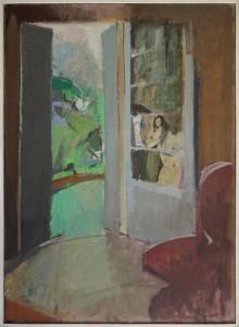 Herta BELBK – Vue sur le jardin – huile sur toile – 100 x 73 cm – 1984
