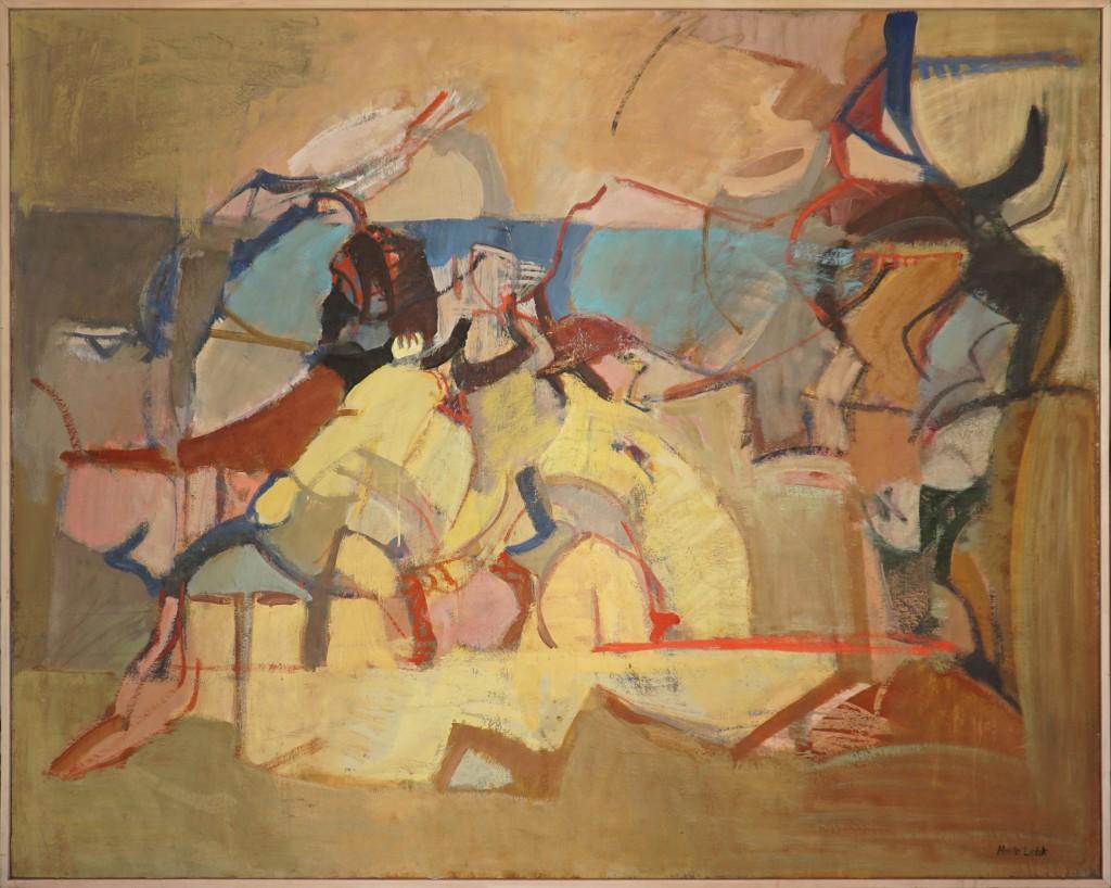Herta LEBK – Grand Paysage animé – huile sur toile – 104 x 130 cm – 1998