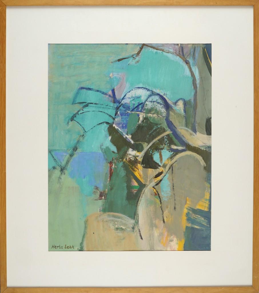 Herta LEBK – Jardin turquoise – gouache sur papier – 45 x 35,5 cm. FORMAT CADRE 64 X 57JPG